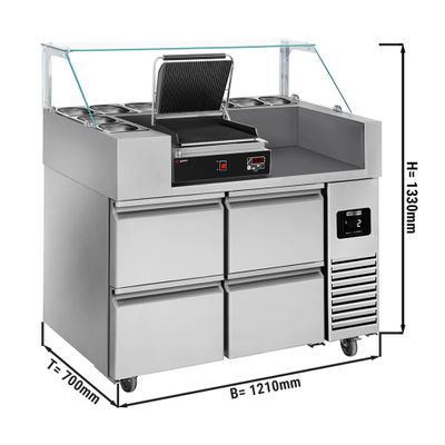 Preparation table - 1.21 x 0.7 m - with 4 drawers 1/2 - incl. digital contact grill