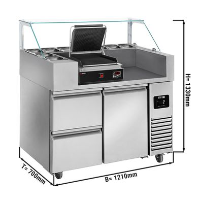 Preparation table - 1.21 x 0.7 m - with 1 door & 2 drawers 1/2 - incl. digital contact grill