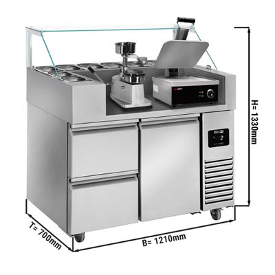 Preparation table - 1.21 x 0.7 m - with 1 door & 2 drawers 1/2 - incl. contact grill & hamburger machine