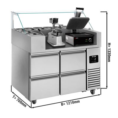 Preparation table - 1.21 x 0.7 m - with 4 drawers 1/2 - incl. contact grill & hamburger machine