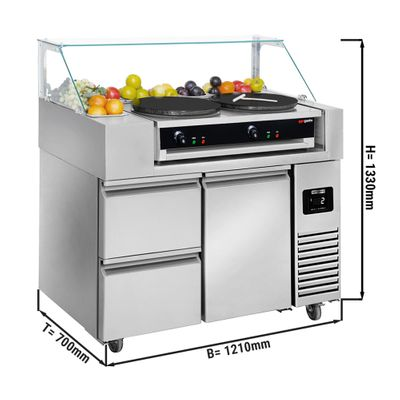 Preparation table - 1.21 x 0.7 m - with 1 door & 2 drawers 1/2 - incl. crepes unit with 2 plates