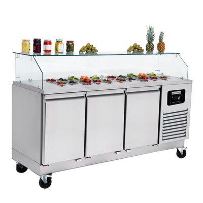 Zubereitungstisch / Saladette - 1,86 x 0,7 m - mit 3 Türen - für 8x GN 1/1