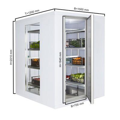 Komora chłodnicza - 1,5 x 1,2 m - wysokość: 2,01 m - 2,6 m³ - z 2 szklanymi ścianami