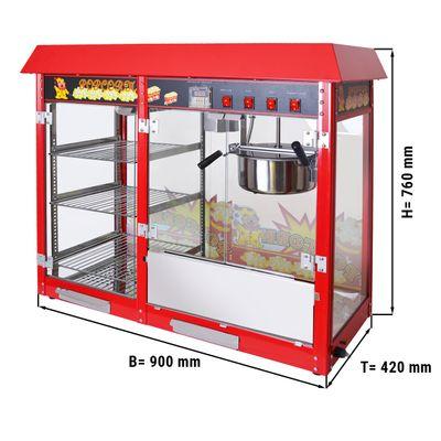 Popcornmaschine - 5 kg/h - mit 3 beheizten Ablagen